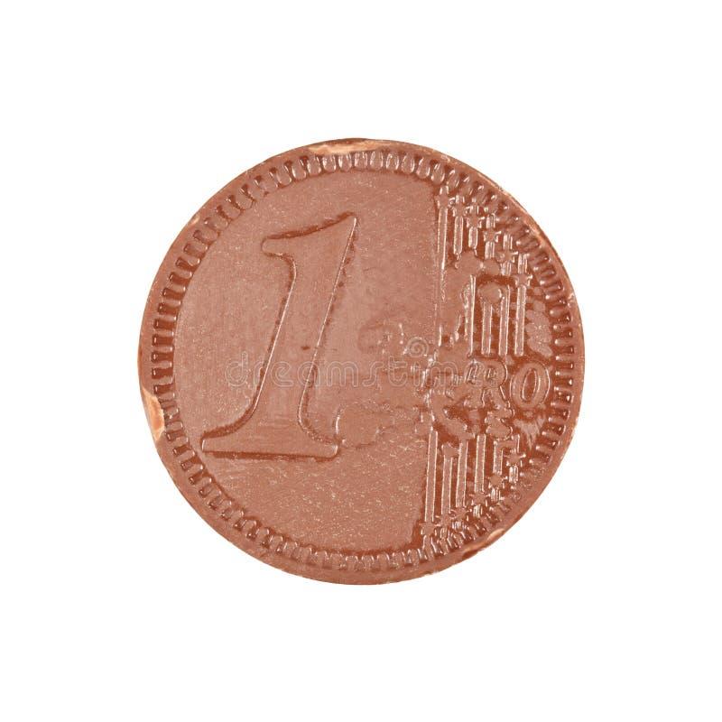 Moeda do euro do chocolate imagem de stock