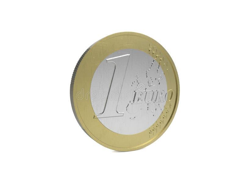 Moeda do Euro no fundo branco foto de stock royalty free