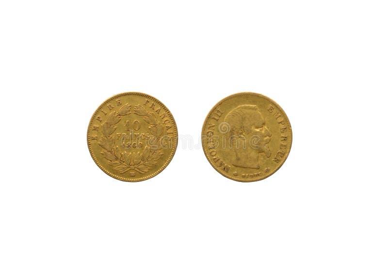 Moeda do francês do ouro imagens de stock royalty free