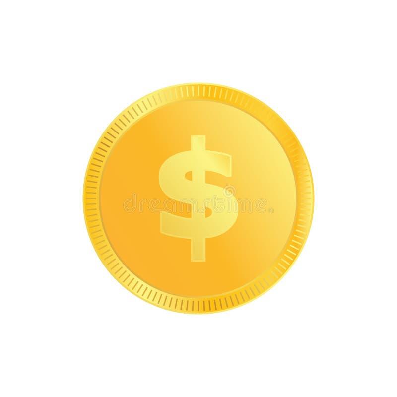 Moeda do inclinação do metal do ouro do dólar Moeda do dinheiro com dólar do ouro para o vetor eps10 do comércio eletrónico ilustração do vetor