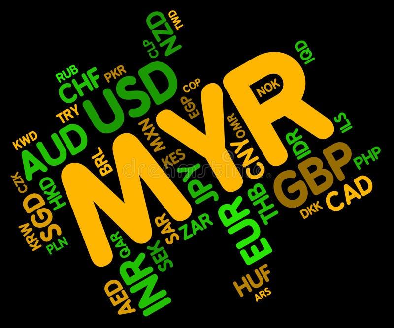 A moeda do MYR mostra o ringgit e o Fx de Malásia ilustração stock