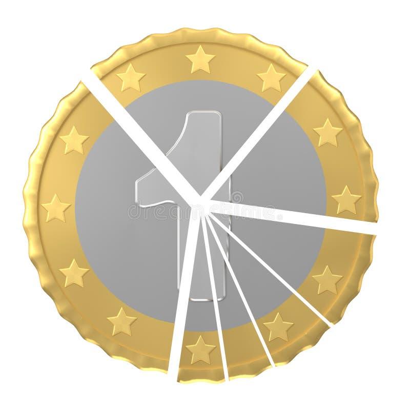 A moeda do número um no 3d isolado pilha rende ilustração do vetor