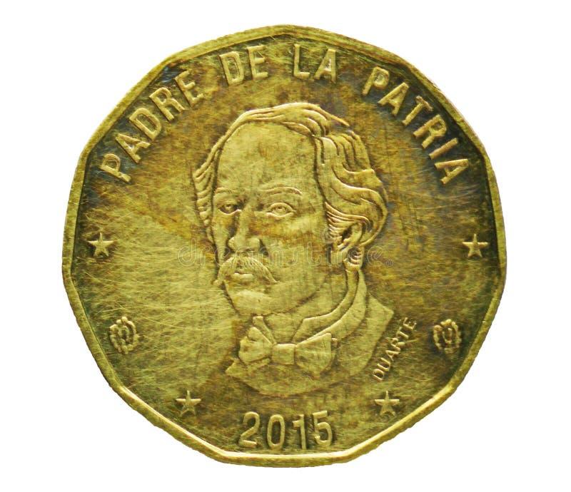 1 moeda do peso, banco de Dominicana Reverso imagem de stock royalty free