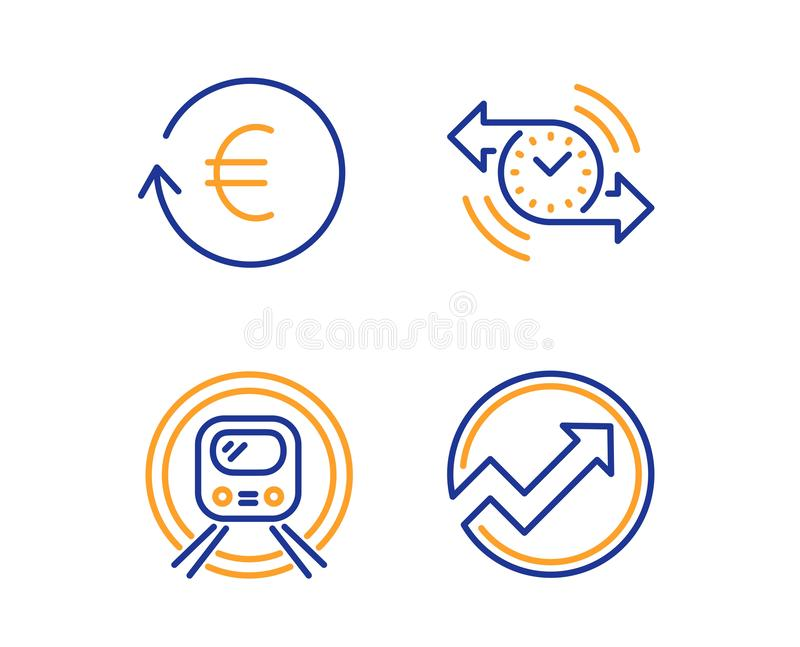 Moeda do temporizador, da troca e de metro do metro grupo dos ícones Sinal da auditoria Vetor ilustração stock