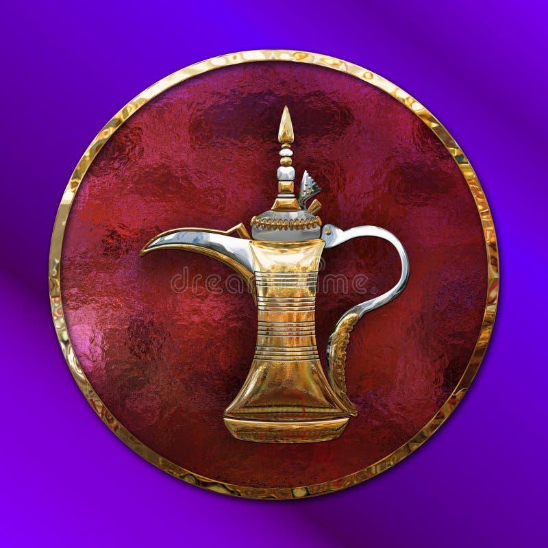 Moeda dos UAE - potenciômetro Dallah do café árabe ilustração do vetor