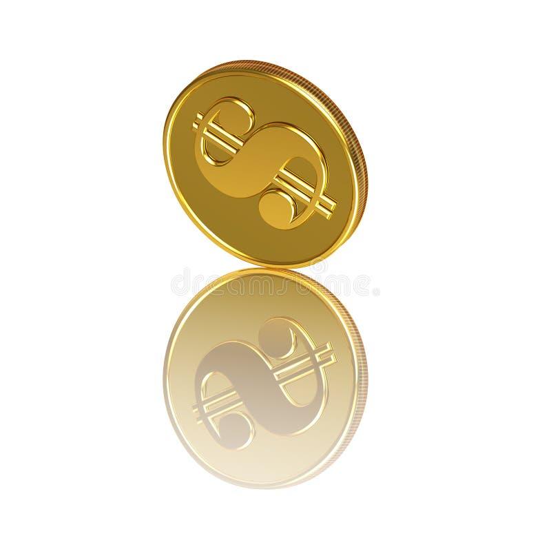 Moeda dourada abstrata do dólar ilustração do vetor