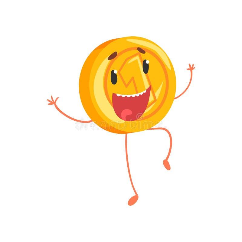 Moeda dourada alegre que salta com mãos acima Caráter do dinheiro dos desenhos animados com pés e braços Um centavo ou ícone da m ilustração stock
