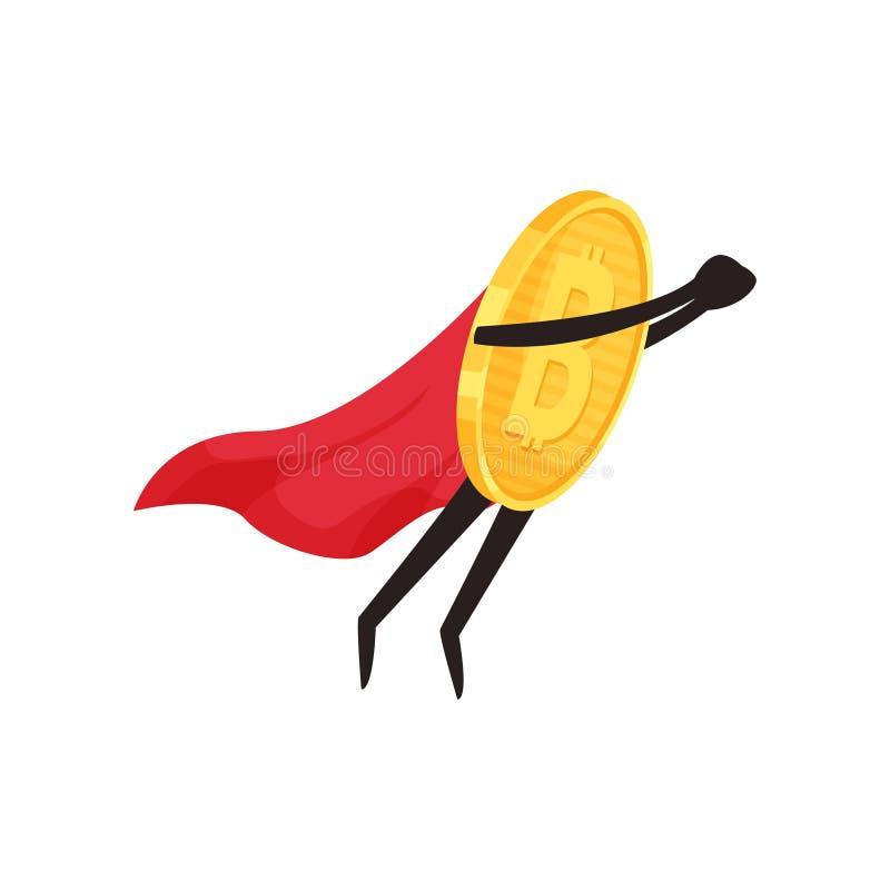 Moeda dourada brilhante com pés e braços na ação do voo Caráter do bitcoin dos desenhos animados com cabo vermelho do super-herói ilustração royalty free