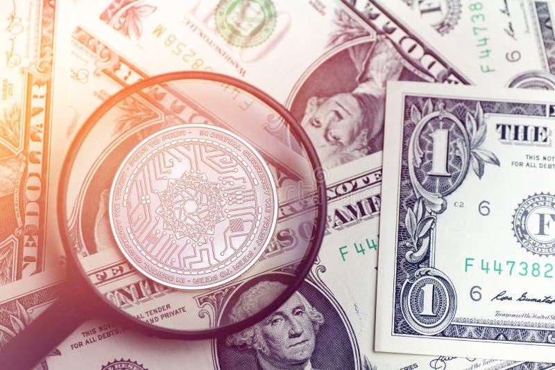 Moeda dourada brilhante do cryptocurrency do LIVRO- do PODER no fundo obscuro com ilustração do dinheiro 3d do dólar imagem de stock