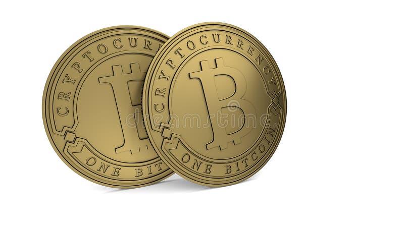 Moeda dourada de Bitcoin ilustração do vetor