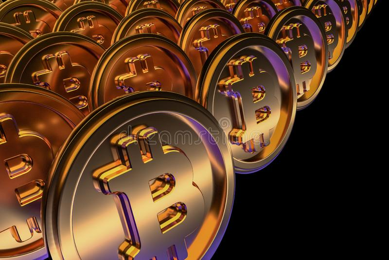 Moeda dourada do cryptocurrency do bitcoin em um fundo preto 3d rendem ilustração royalty free