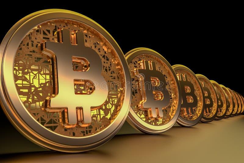Moeda dourada do cryptocurrency do bitcoin em um fundo preto 3d rendem ilustração do vetor