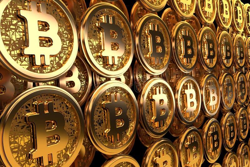 Moeda dourada do cryptocurrency do bitcoin em um fundo preto 3d rendem ilustração stock