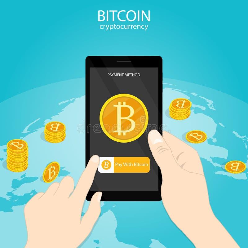 Moeda dourada do pagamento de Bitcoin, wold digital do dinheiro do cryptocurrency do bitcoin largamente, vetor móvel do app do pa ilustração stock
