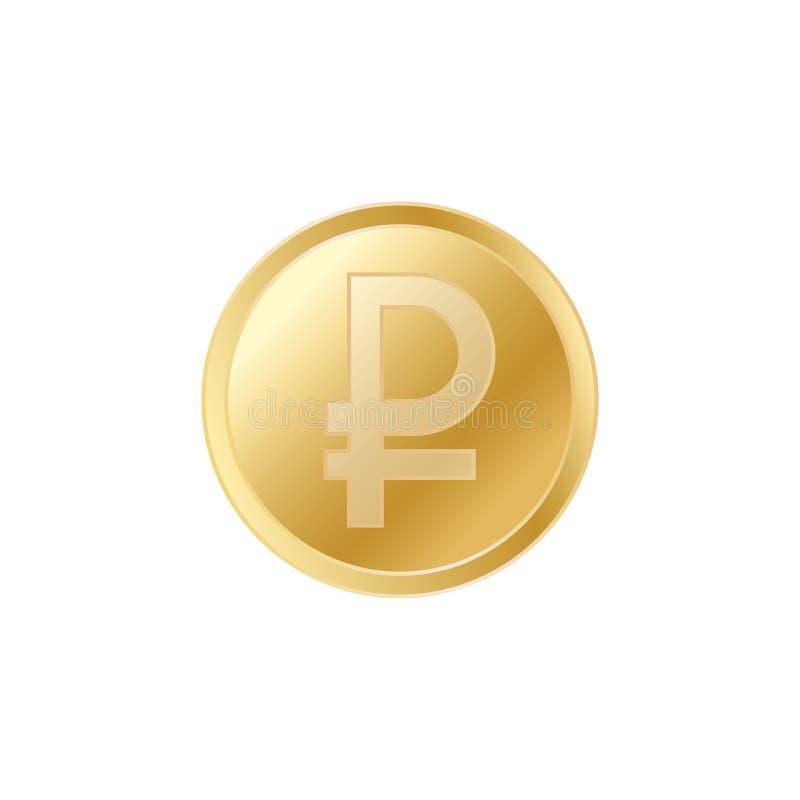 Moeda dourada do rublo Moeda vivo realística dos rublos de russo do ouro ilustração royalty free