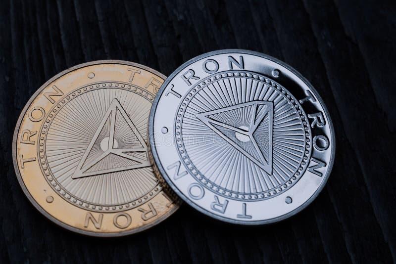 Moeda dourada Tron TRX, dinheiro digital, cryptocurrency novo fotos de stock