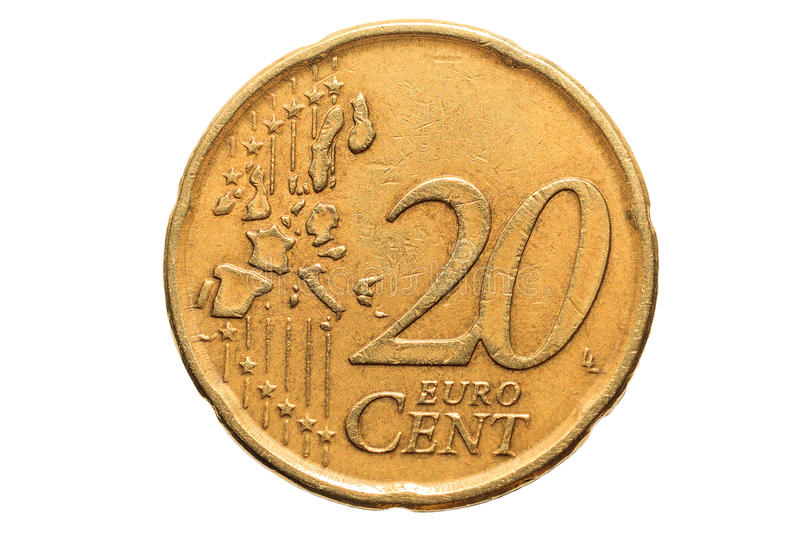 Moeda europeia com um valor nominal de vinte centavos de Euro isolados no fundo branco Imagem macro de moedas europeias fotos de stock