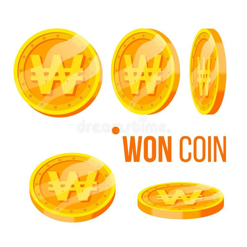 Moeda ganhada que joga o vetor dourado do grupo da moeda do dinheiro ilustração royalty free