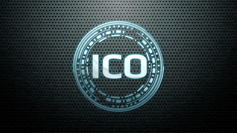 A moeda inicial de incandescência moderna futurista que oferece ICO conduziu o pairo do holograma do logotipo sobre o fundo de aç imagens de stock