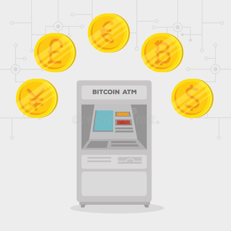 Moeda internacional eletrônica do bitcoin da troca do Atm ilustração royalty free