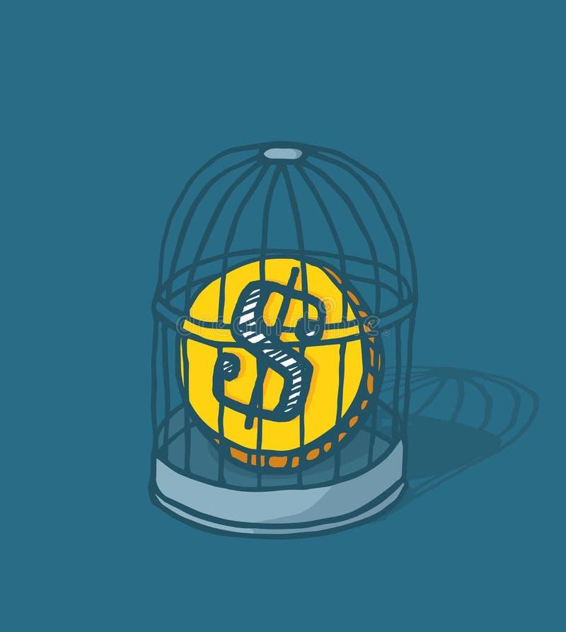 Moeda prendida ou dinheiro fechado na gaiola de pássaro ilustração do vetor