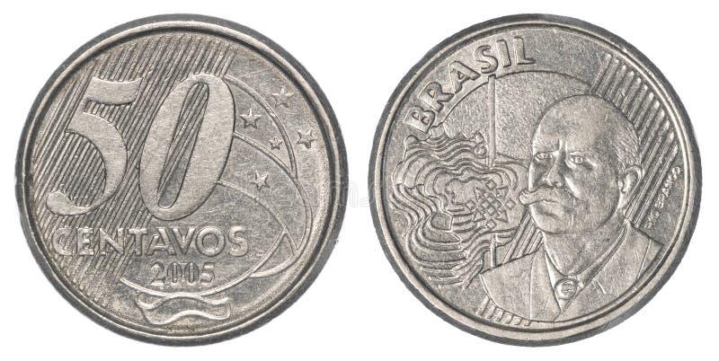 Moeda real brasileira de 50 centavos imagens de stock