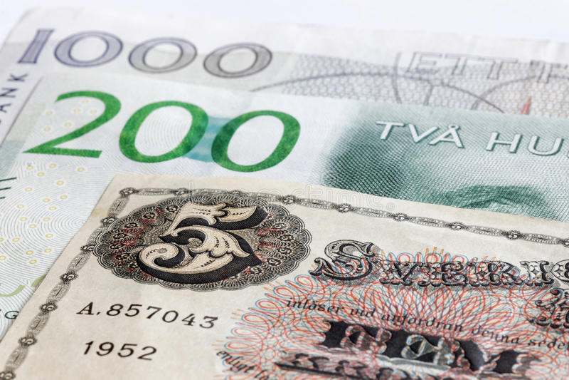 Moeda retro dos sueco da SEK das cédulas 5, 200 e 1000 fotos de stock royalty free
