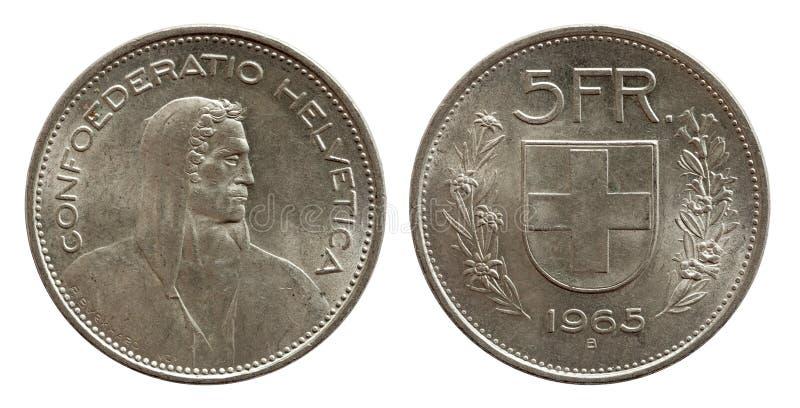 Moeda suíça 5 de Suíça cinco prata do franco 1965 isolada no fundo branco imagens de stock