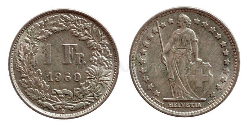 Moeda suíça 1 de Suíça uma prata do franco 1968 isolada no fundo branco imagens de stock
