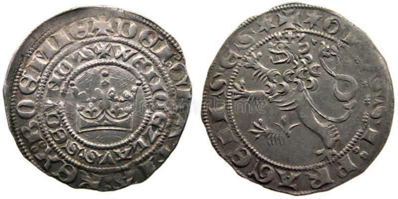 Moeda velha dos anos medievais de Praga groschen-700 da moeda imagens de stock