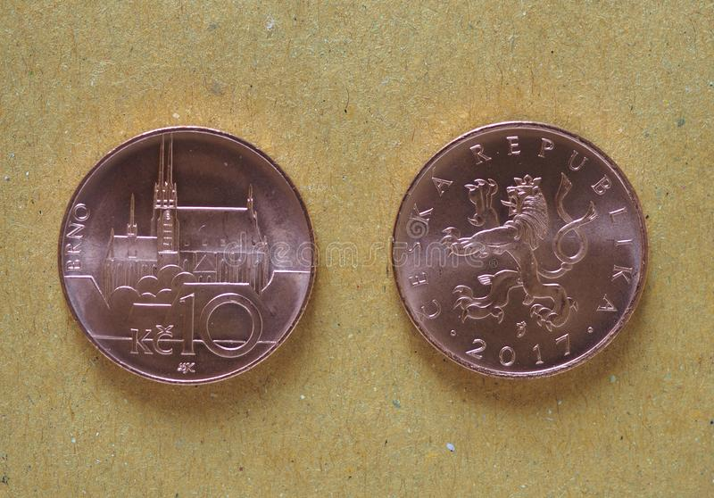 10 moedas checas da coroa, República Checa foto de stock