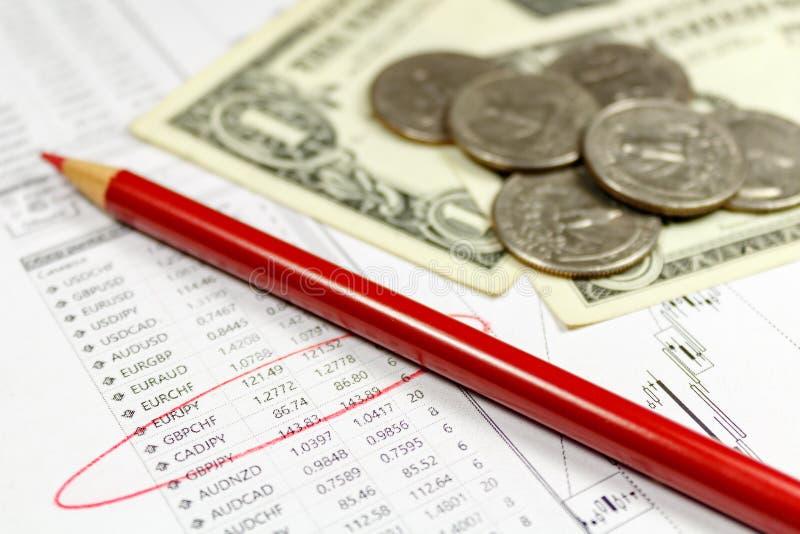 Moedas com as cédulas dos dólares americanos e lápis vermelho no fundo da tabela das taxas de câmbio Foco no texto fotografia de stock royalty free