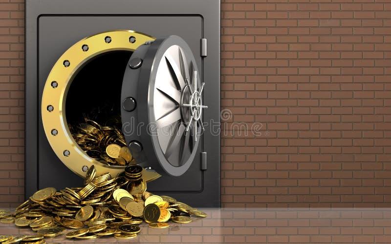 moedas 3d douradas sobre a parede de tijolos ilustração royalty free