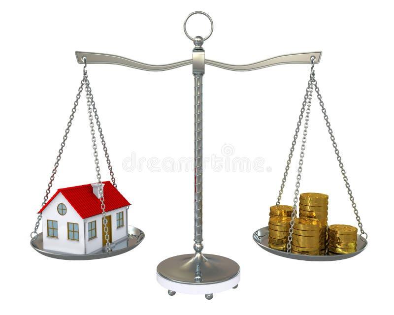 Moedas da casa e de ouro na escala ilustração royalty free