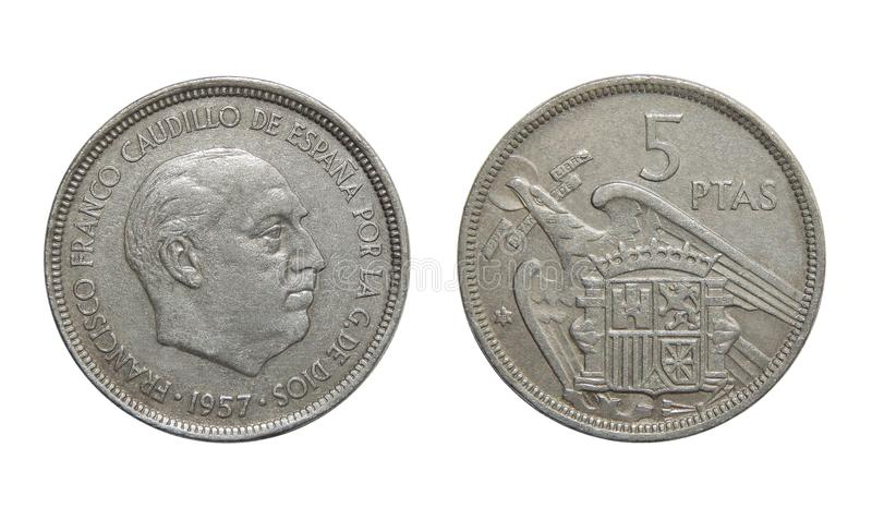 Moedas da Espanha 5 peseta 1957 imagens de stock royalty free
