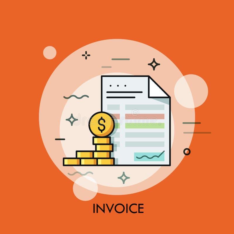Moedas da fatura e do dólar Inclua no orçamento o planeamento, economia do dinheiro, pagando o conceito do débito ilustração do vetor
