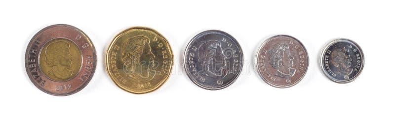Moedas da moeda do dólar canadense imagens de stock