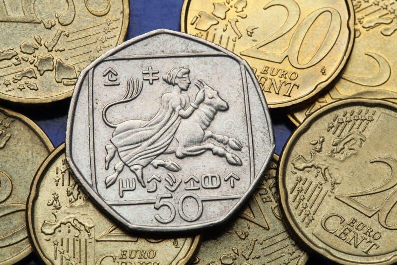 Moedas de Chipre foto de stock