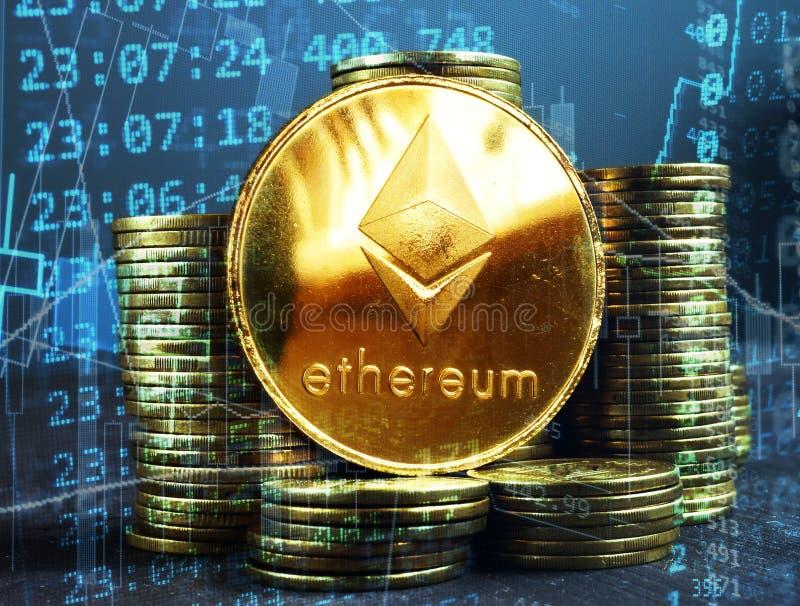 Moedas de Ethereum ETH A bolsa de valores cripto fotografia de stock