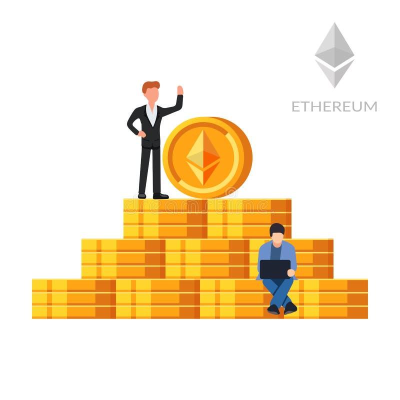Moedas de Ethereum Moeda de Digitas Mineração de Cryptocurrency Salário de Blockchain O conceito do enriquecimento devido ao ilustração do vetor