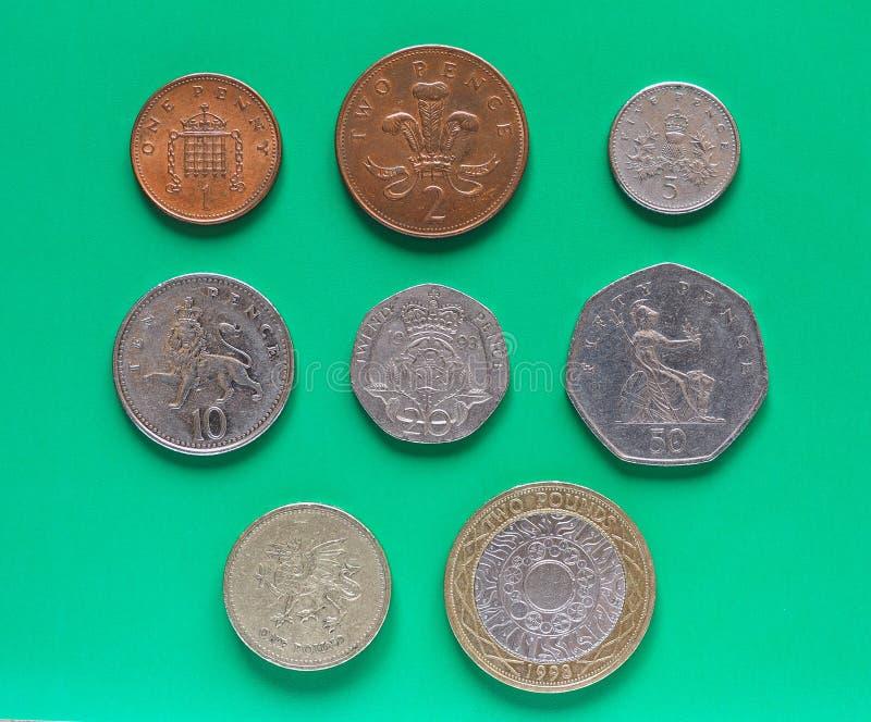 Moedas de libra de GBP imagem de stock