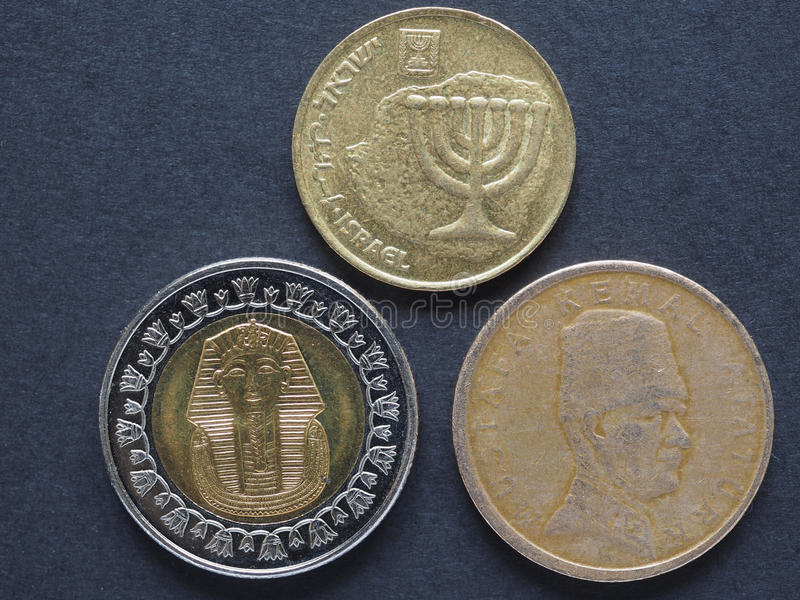 Moedas de Médio Oriente foto de stock