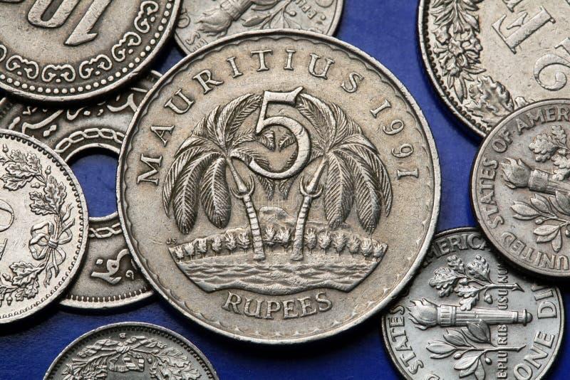 Moedas de Maurícia fotografia de stock