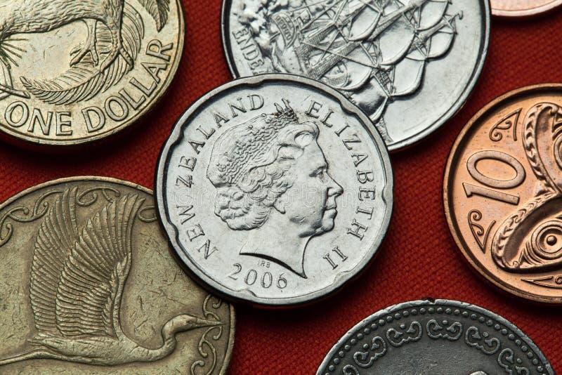 Moedas de Nova Zelândia Rainha Elizabeth II fotografia de stock