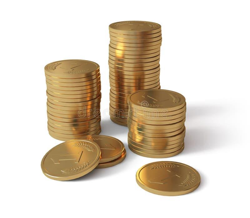 Moedas de ouro ilustração stock