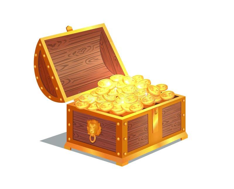 Moedas de ouro antigas na caixa de madeira aberta pesada ilustração stock