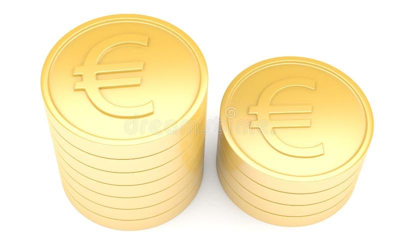 Moedas de ouro com euro- sinal ilustração stock