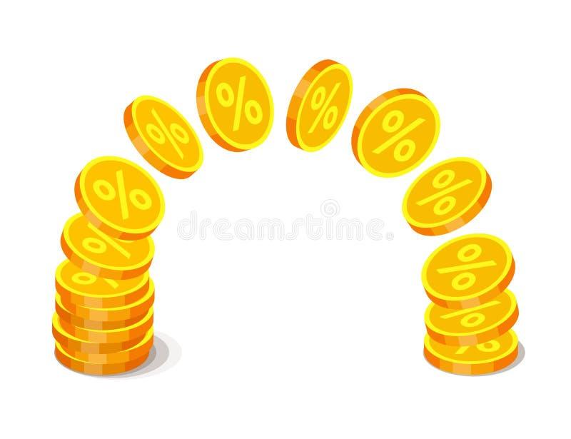 Moedas de ouro com sinais de por cento ilustração stock