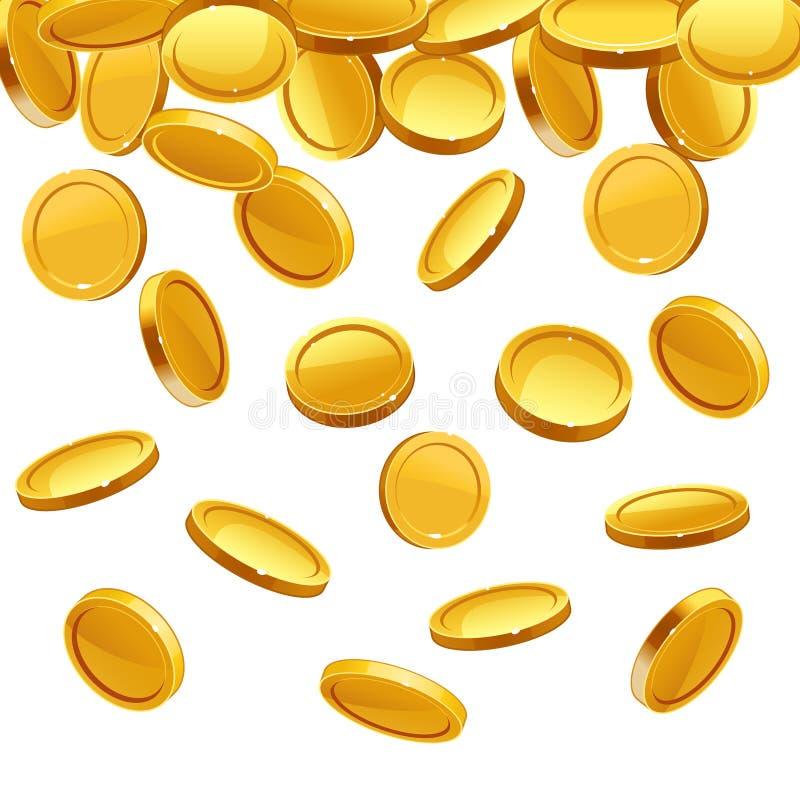 Moedas de ouro de queda Fundo financeiro do conceito do vetor ilustração do vetor