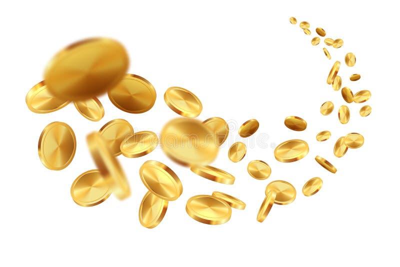 Moedas de ouro do voo Loteria premiada de queda realística do banco da vitória do tesouro do jogo do jackpot do dólar do dinheiro ilustração royalty free